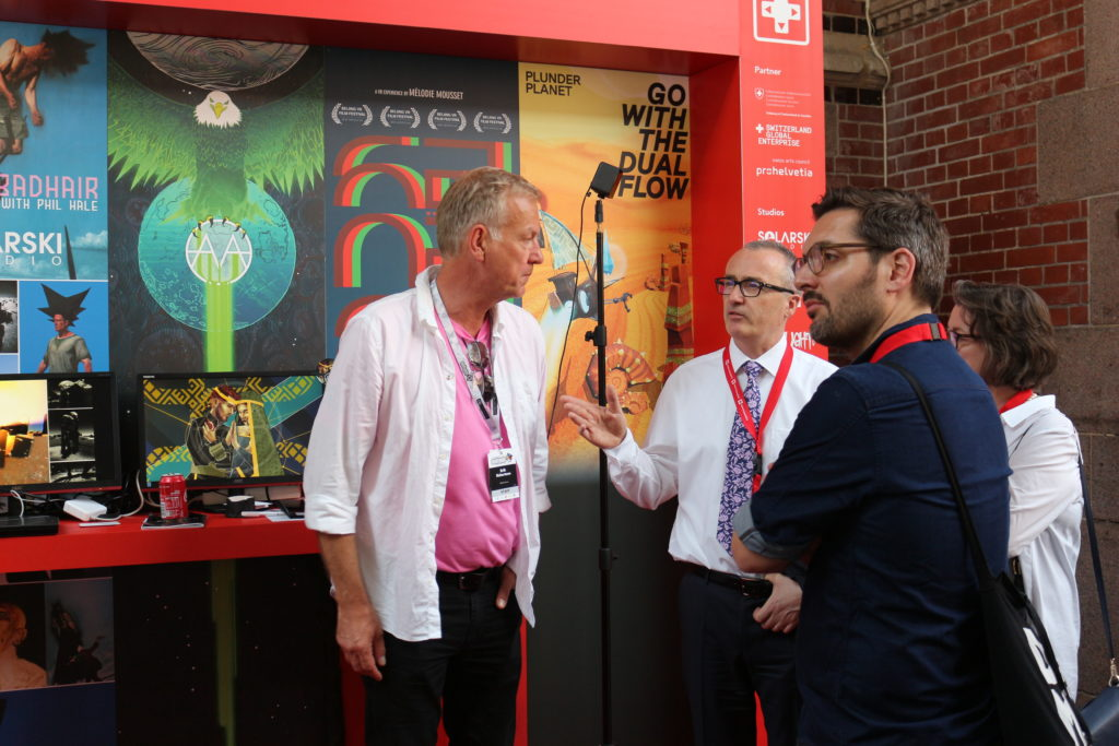 Founder of the Nordic Game conference and European Games Developer Federation (EGDF) Erik Robertson, Ambassador of Switzerland to Sweden Christian Schoenenberger and SWISSGAMES' Oliver Miescher (c) SWISSGAMES